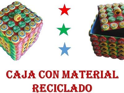 Manualidades con reciclaje - caja con material reciclado