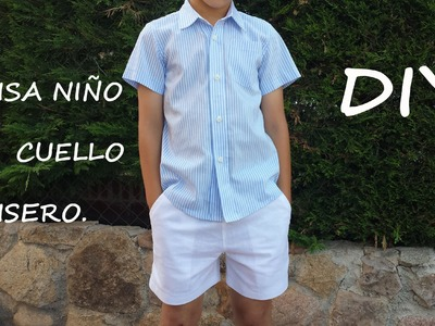 Camisa con cuello camisero. Costura y patrones para niño.