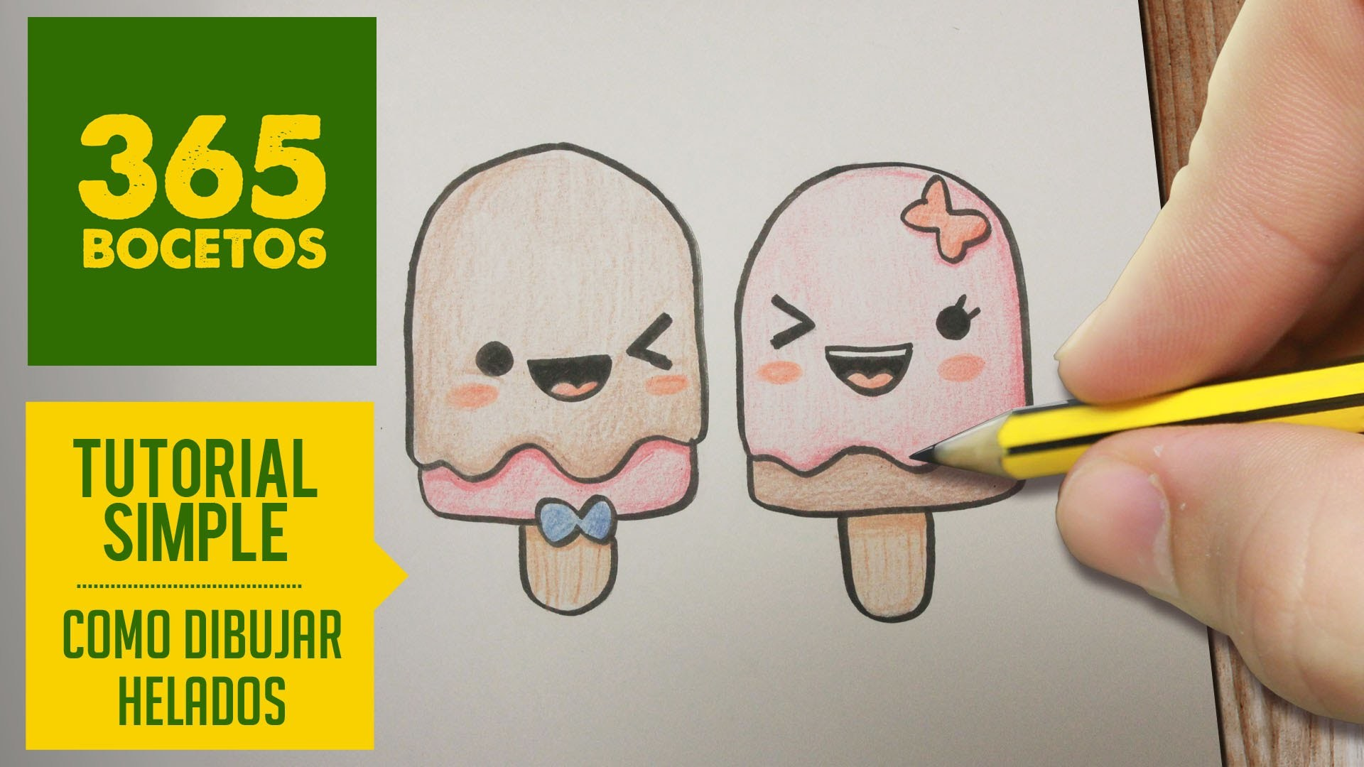COMO DIBUJAR PALETAS HELADAS KAWAII PASO A PASO - Dibujos kawaii faciles - How to draw an Ice Cream