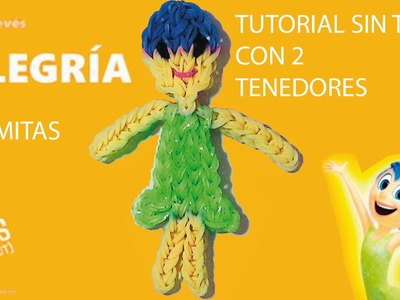 Como hacer la figura de gomitas alegría de pelicula del reves o intensamente con tenedores SIN TELAR