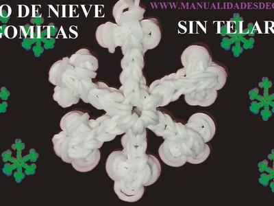 COMO HACER UN COPO DE NIEVE DE NAVIDAD DE GOMITAS SIN TELAR, CON TENEDORES MANUALIDADES PARA NIÑOS