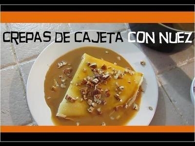 Crepas de cajeta rellenas con nuez. Milk caramel crepes with nuts