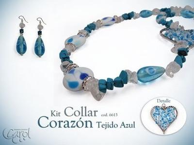 KIT 6613  Kit collar corazones tejido azul x und
