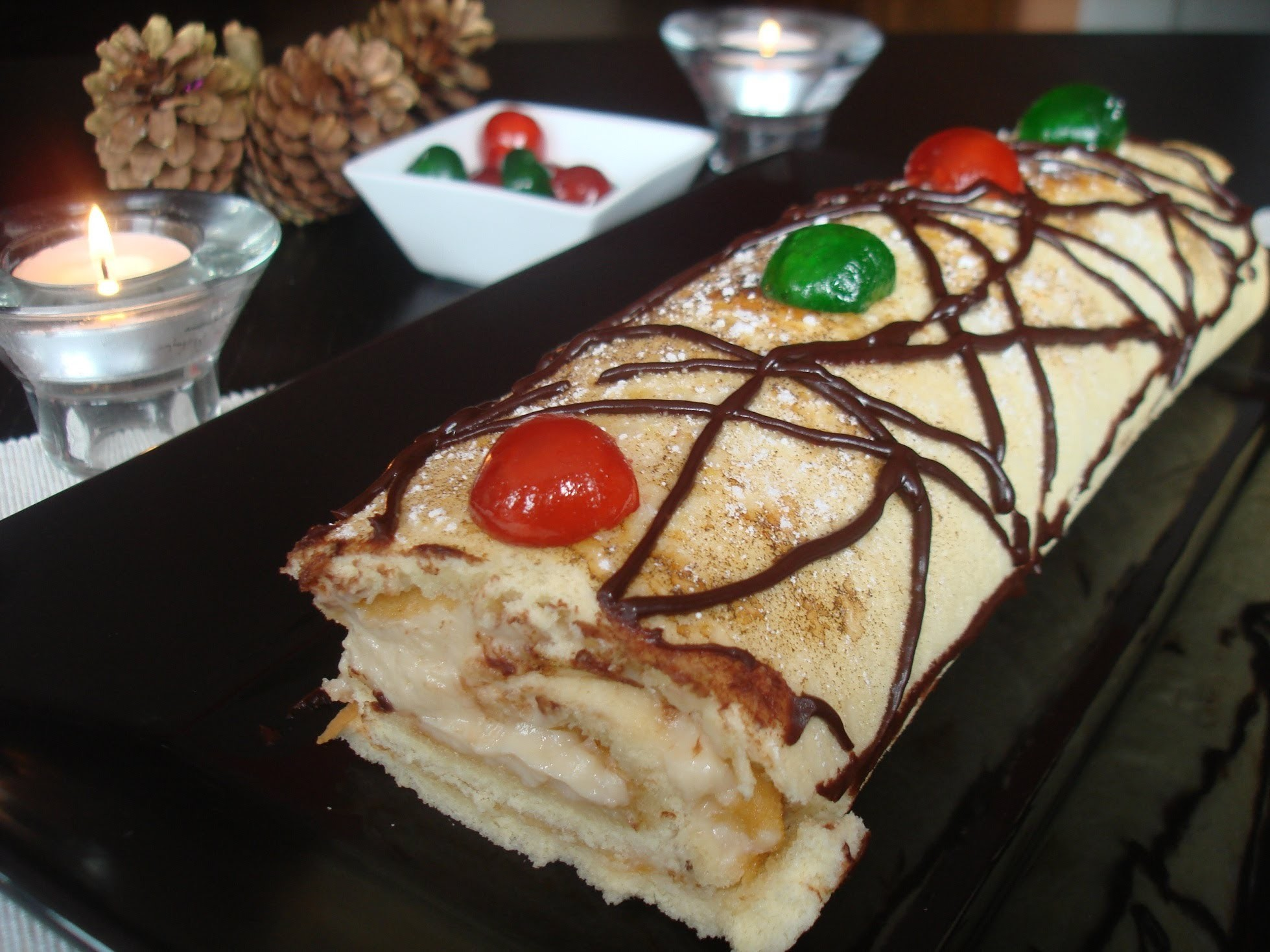 Brazo de gitano relleno de crema (sin lactosa). Custard Cake Roll (lactose-free)