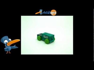 Coche de material reciclado. Manualidades infantiles, manualidades con material reciclado