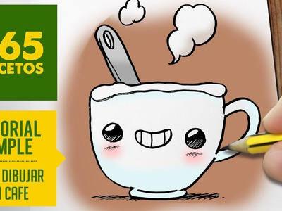 COMO DIBUJAR UN CAFE KAWAII PASO A PASO - Dibujos kawaii faciles - How to draw a coffee