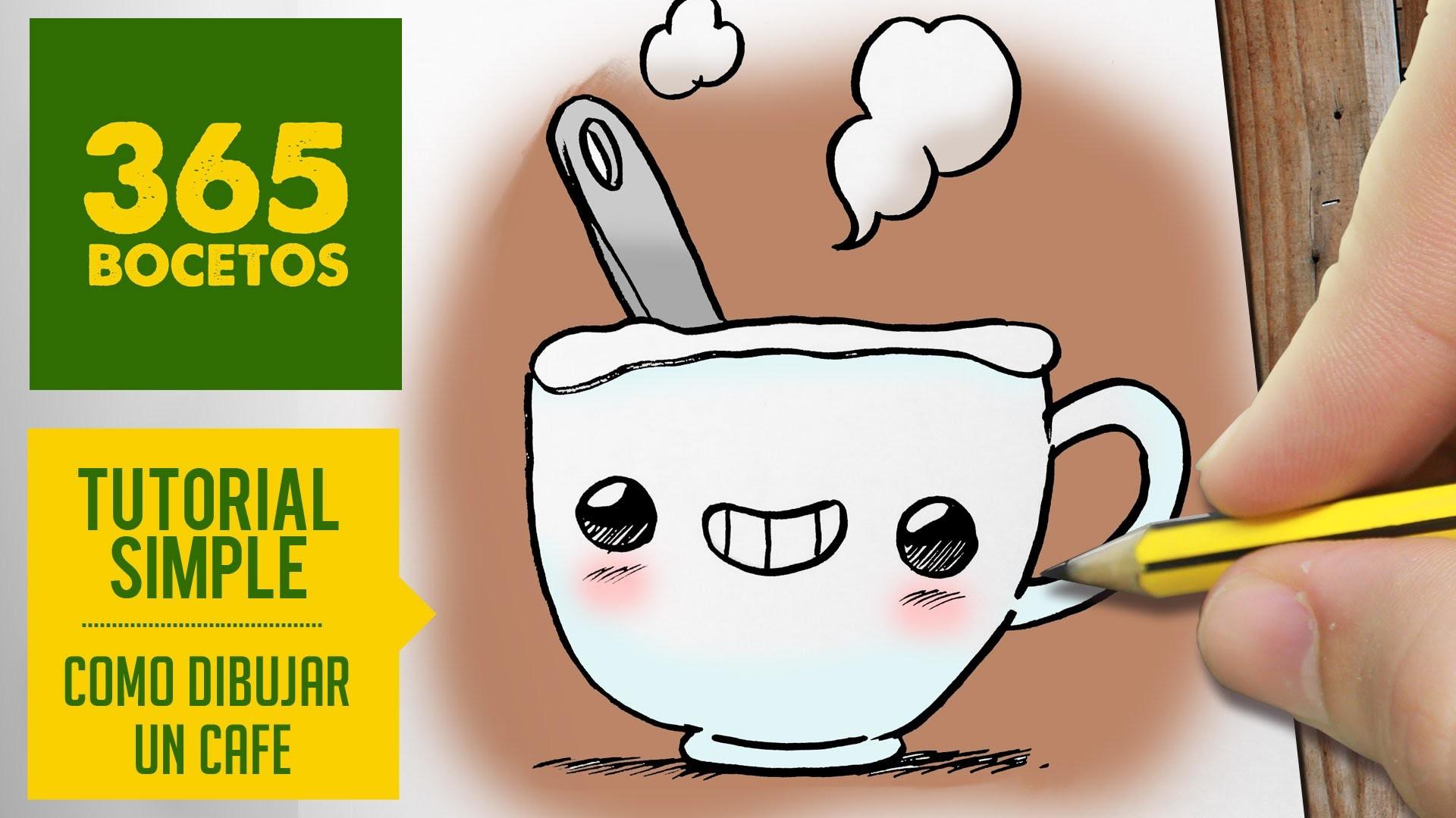 COMO DIBUJAR UN CAFE KAWAII PASO A PASO - Dibujos kawaii faciles - How to draw a coffee