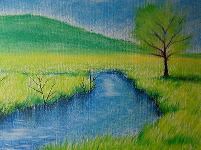 Cómo dibujar un paisaje al pastel paso a paso, dibujo de un paisaje