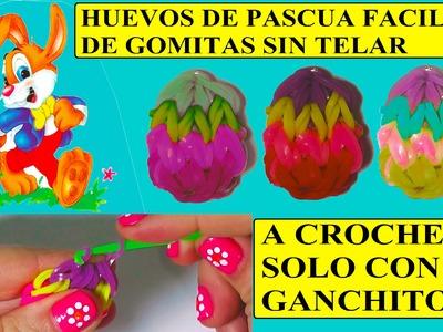 Como hacer huevos de pascua de gomitas sin telar, solo ganchito, a crochet.