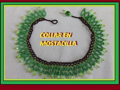 Como hacer un collar verde en mostacilla