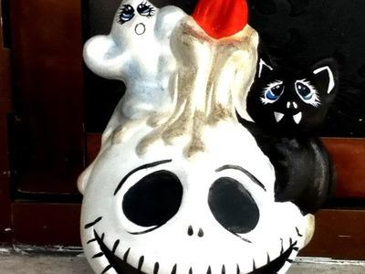DIY pinta cerámica jack fantasma murciélago Halloween pintura acrílica painted ceramic halloween