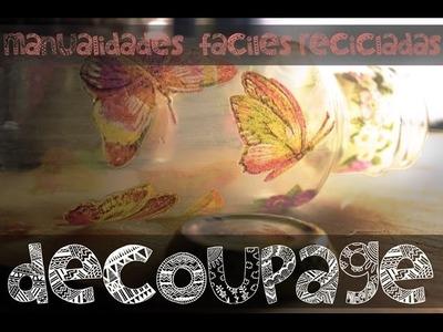 Decoupage en vidrio | Manualidades fáciles recicladas | Tutorial