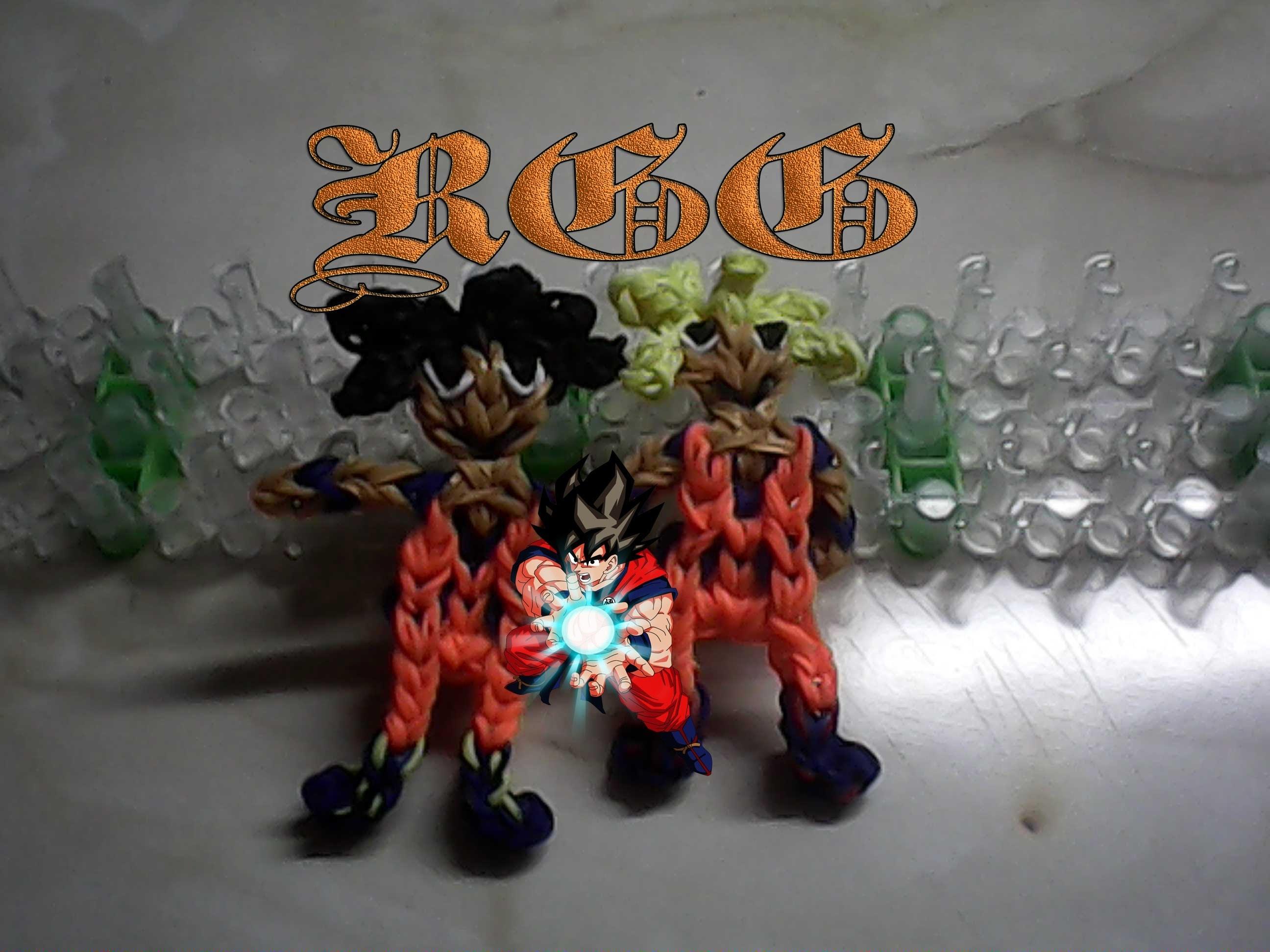 Como hacer a Goku  ((super saiyajin)) Dragon Ball con gomitas.(Rainbow Loom)