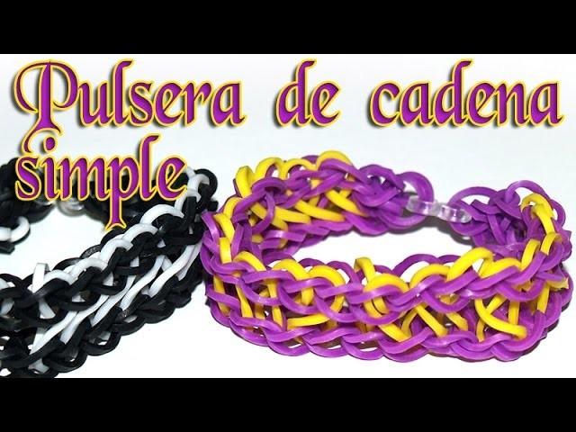 COMO HACER UNA PULSERA DE CADENA SIMPLE - RAINBOW LOOM - HOW TO MAKE SIMPLE CHAIN BRACELET
