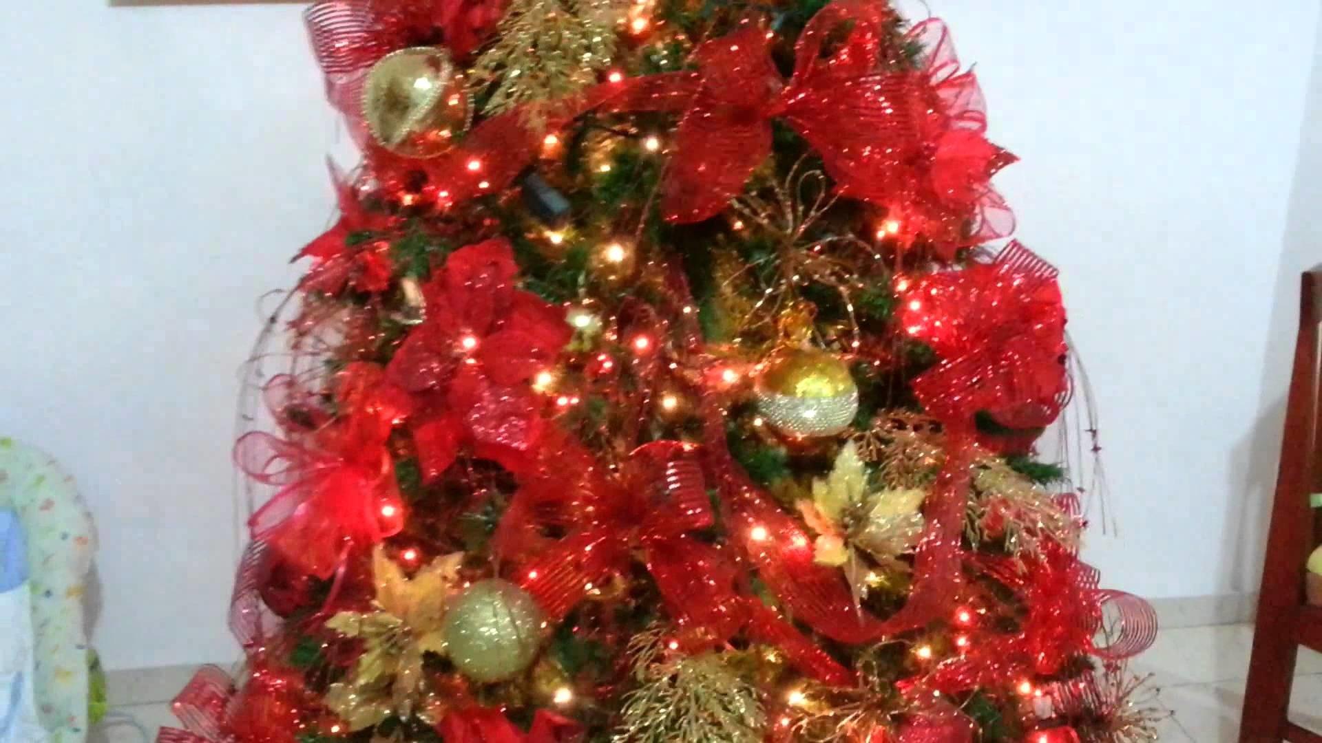 Diseño decoracion arbol de navidad rojo tendencias 2015 al 2016
