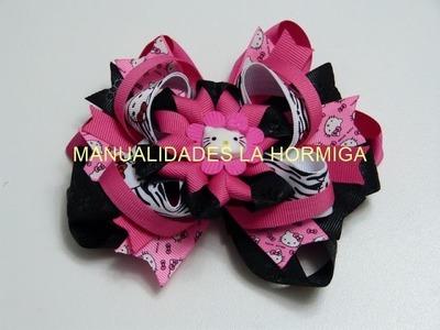 DIY Moño- lazo  boutique   y  flores en cinta o listón para el cabello de las  Niñas