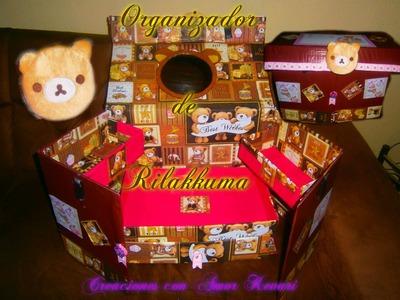 Organizador Reciclado con cajas de cartón Rilakkuma Manualidad, maquillaje, escolar, escritorio.
