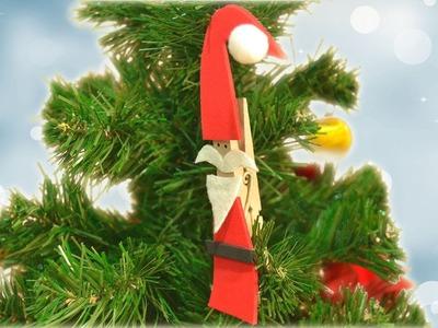 Papa Noel en una pinza. Decoración para tu árbol de navidad