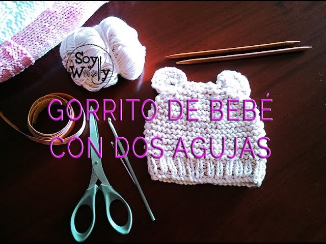 Teje un gorro de bebé fácil con dos agujas, palillos, palitos