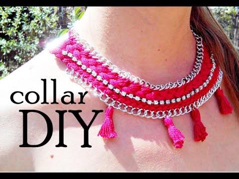Collar rojo DIY con strass y cadena