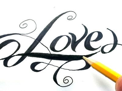 Como dibujar la palabra love paso a paso - (How to draw love in letters) Love en cursiva