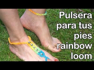 COMO HACER UNA PULSERITA DE GOMITAS PARA EL PIE. RAINBOW LOOM ANKLET