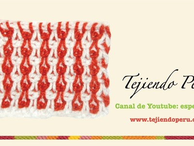 Punto fantasía en ganchillo tunesino # 5: en 2 colores de lana