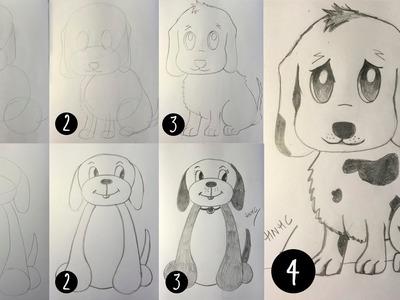 Como dibujar un cachorro de perro - Dibujo paso a paso