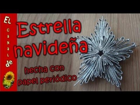 Estrella navideña 2 hecha con papel periódico - Christmas Star 2 made with newspaper