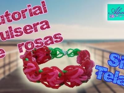 ♥ Tutorial: Pulsera de rosas (sin telar) ♥