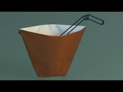 Aprende a hacer origami, un vaso de papel