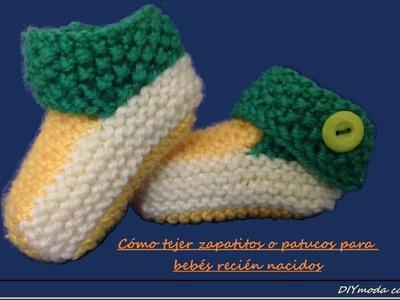Botitas o zapatitos de bebé a dos agujas 1a de 2 partes