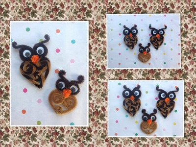 BUHOS HECHOS CON LIMPIA PIPAS.- OWLS MADE WITH PIPE CLEANERS .