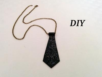 Collar, colgante corbata, diy, Muy fácil y rápido!