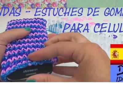 CÓMO HACER FUNDAS PARA CELULAR CON GOMITAS - RAINBOW LOOM PHONE CASE - TUTORIAL EN ESPAÑOL - DIY