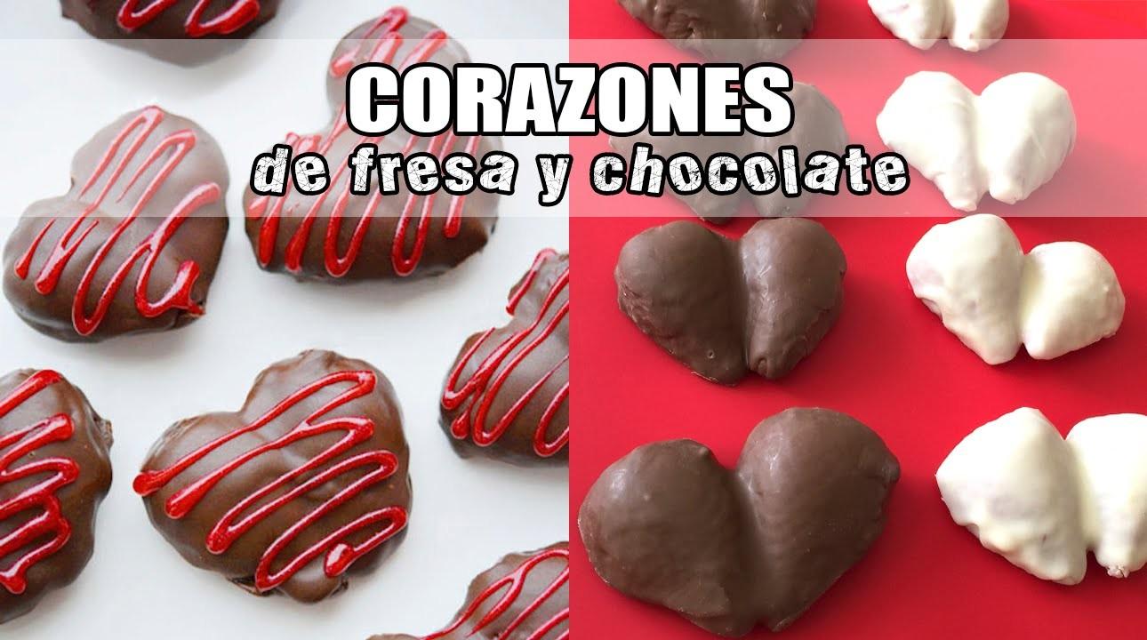 Corazones de fresa y chocolate para San Valentín