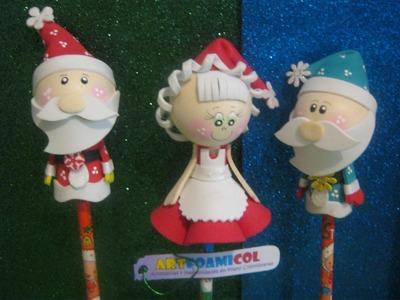 Fofuchas Navidad Papá Y Mamá Noel,Santa Claus,san Nicolas Artfoamicol Navideños fofulapiz