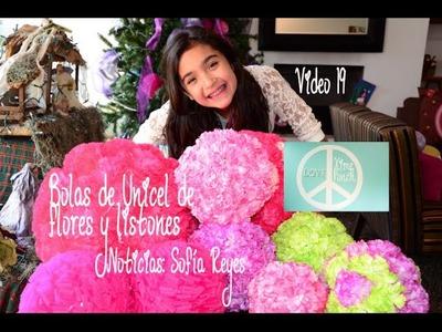 Xime Ponch V19 Bolas de unicel decoradas de Flores y Listones. Sofía Reyes.