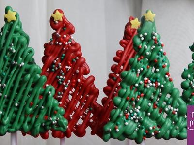 Árbol de navidad de chocolate para decorar cupcakes y tartas