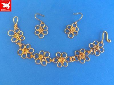 Como hacer pulsera de flores de alambre de aluminio
