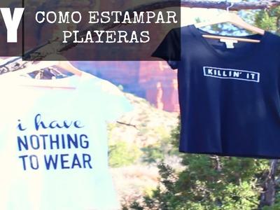 DIY Como estampar playeras.camisetas (SIN HOJA DE TRANSFERENCIA)  ♥Ilse Time