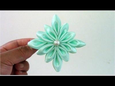 Flores kanzashi flower snowflakes on ribbons en cintas para el cabello