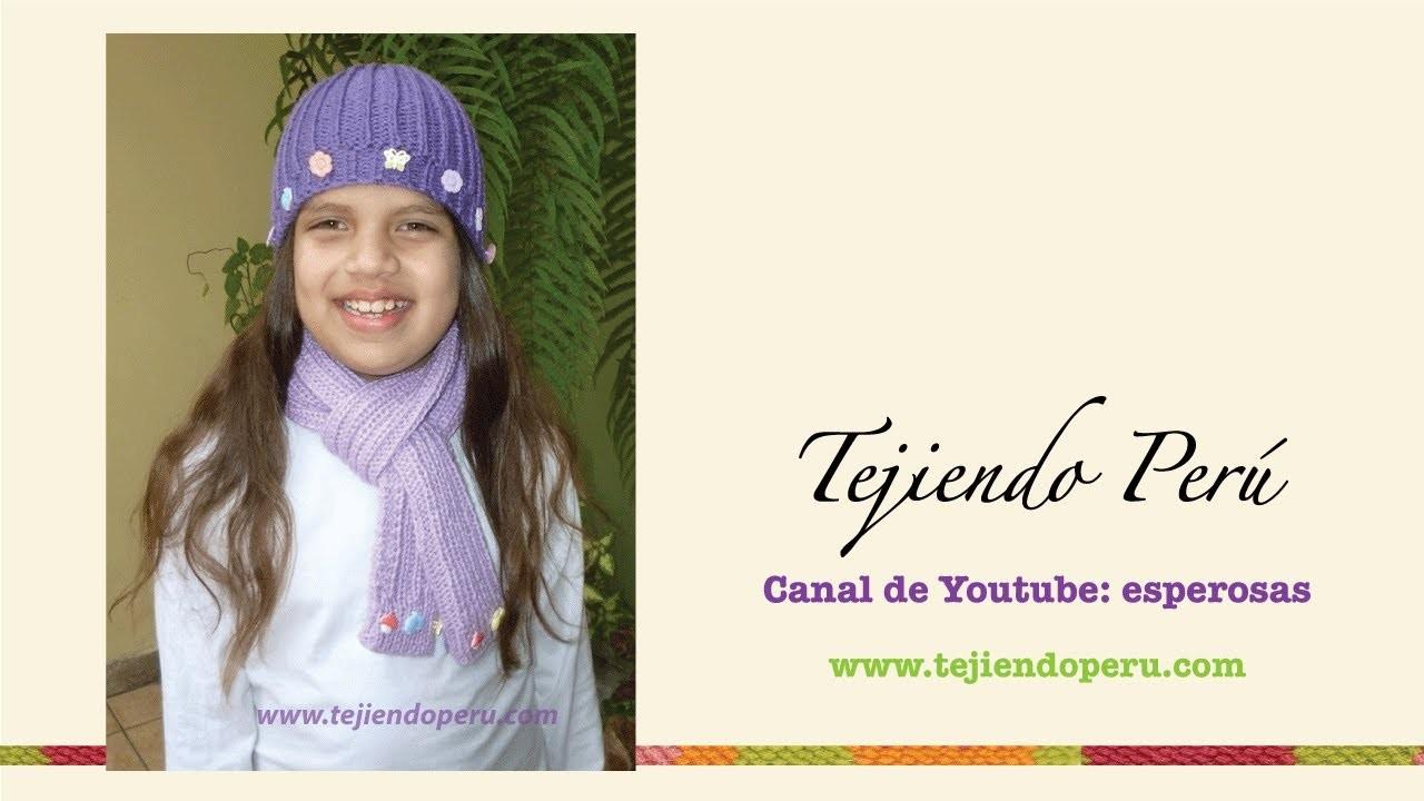 Gorro y bufanda fáciles en punto elástico para niños para principiantes)