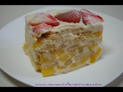 Receta: Torta Fría de Melocotón o Pastel Frío de Duraznos
