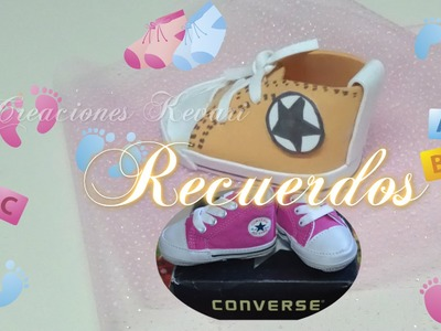 Recuerdos Zapatito Foamy estilo Converse para Baby Shower. how to make baby converse shoes