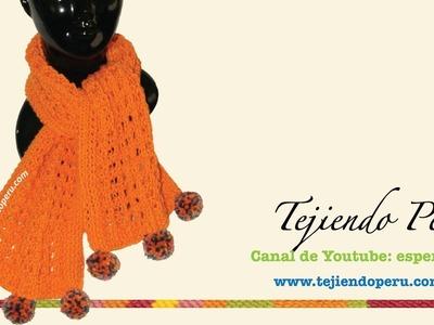 Bufanda calada y con textura tejida en dos agujas para principiantes