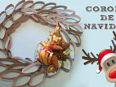 Corona de navidad de cartón I Manualidades de reciclaje