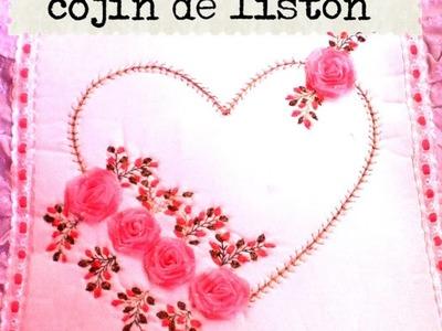 DIY como hacer un cojín de amor enamorados listón cinta love heart cushion made of lath