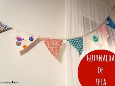 Pinafili Films.Tutorial para hacer una guirnalda de banderines de tela.
