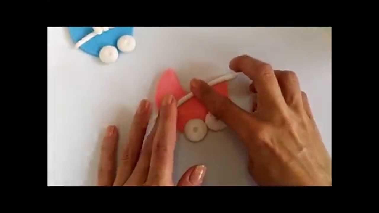 Tutorial Carreola en porcelana fria recuerdo para baby shower. How to make stroller cold porcelain
